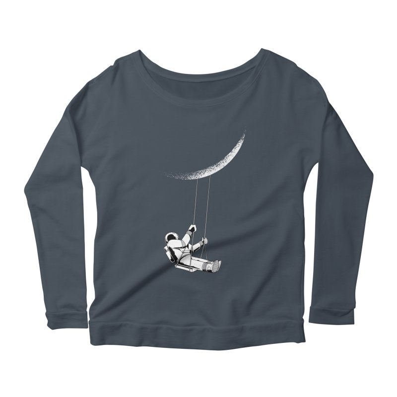 Astronaut Swinging From The Moon Women's Longsleeve T-Shirt by Far Out Sky - A Popular Ventures Company