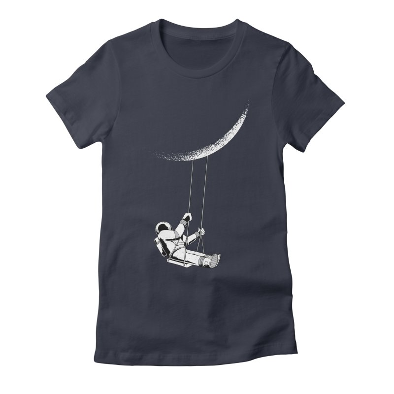 Astronaut Swinging From The Moon Women's T-Shirt by Far Out Sky - A Popular Ventures Company