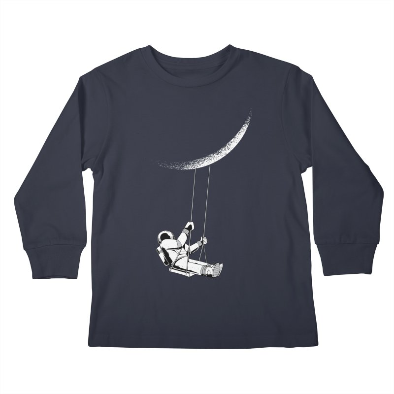 Astronaut Swinging From The Moon Kids Longsleeve T-Shirt by Far Out Sky - A Popular Ventures Company