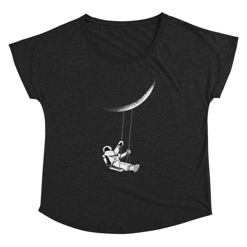 Astronaut Swinging From The Moon Women's Scoop Neck by Far Out Sky - A Popular Ventures Company