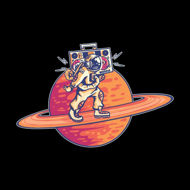 Astronaut Walking Rings Of Saturn Kids T-Shirt by Far Out Sky - A Popular Ventures Company