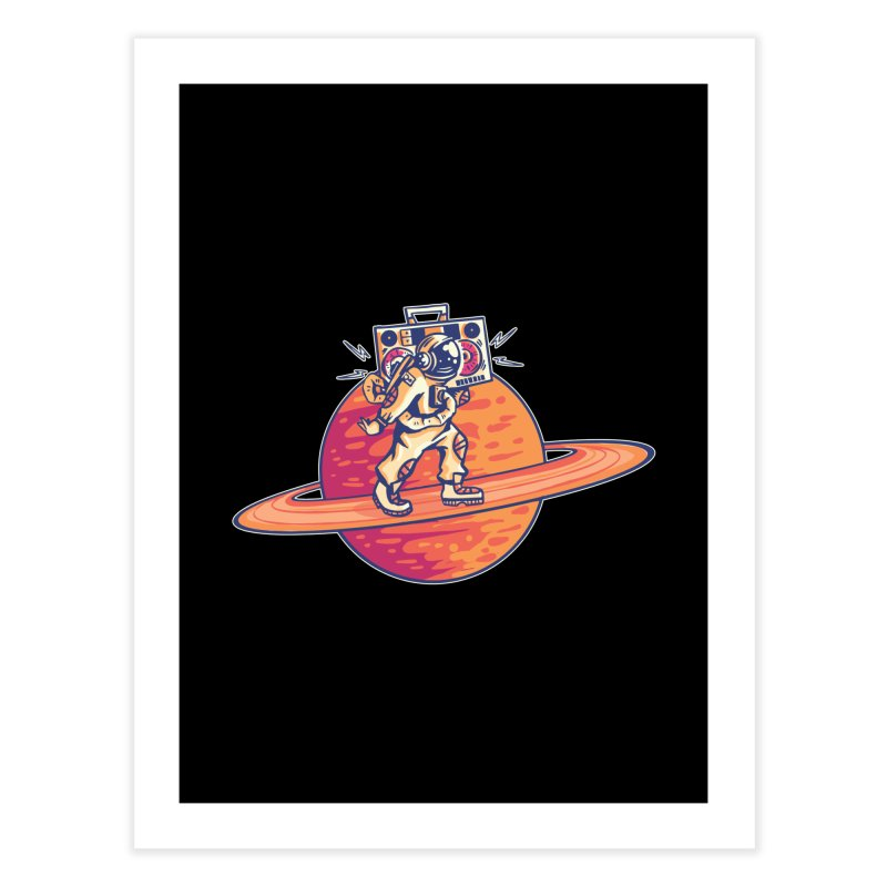 Astronaut Walking Rings Of Saturn Home Fine Art Print by Far Out Sky - A Popular Ventures Company