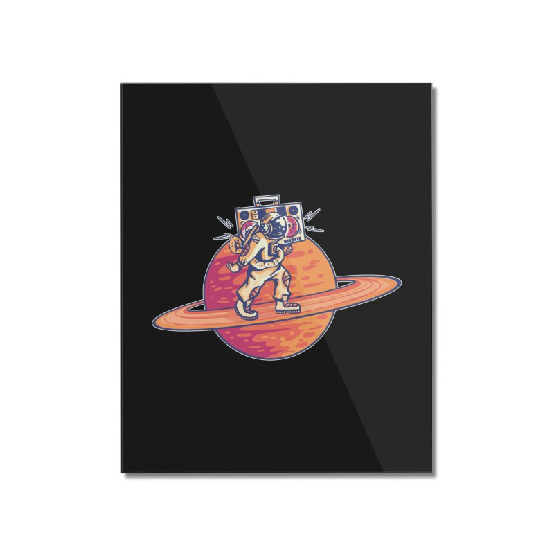 Astronaut Walking Rings Of Saturn Home Mounted Acrylic Print by Far Out Sky - A Popular Ventures Company