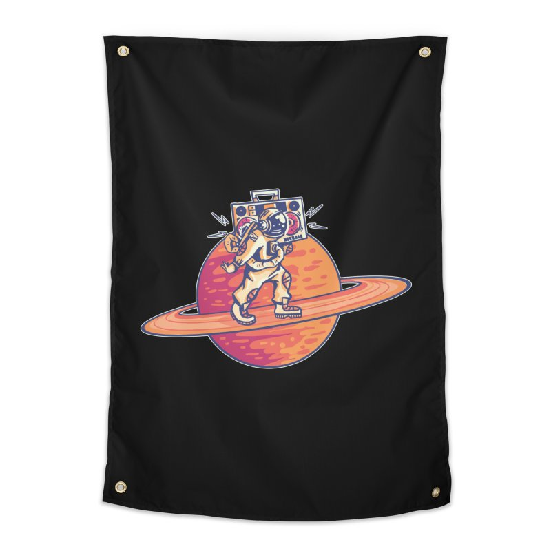 Astronaut Walking Rings Of Saturn Home Tapestry by Far Out Sky - A Popular Ventures Company