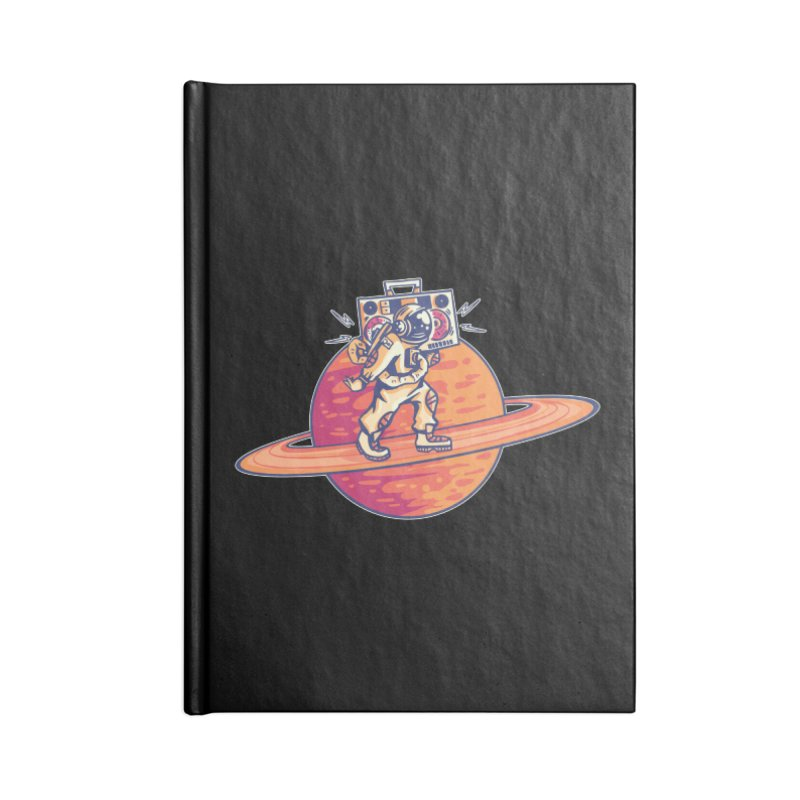 Astronaut Walking Rings Of Saturn Accessories Notebook by Far Out Sky - A Popular Ventures Company