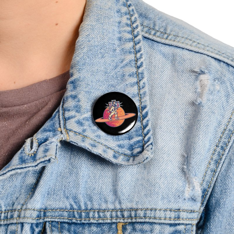 Astronaut Walking Rings Of Saturn Accessories Button by Far Out Sky - A Popular Ventures Company