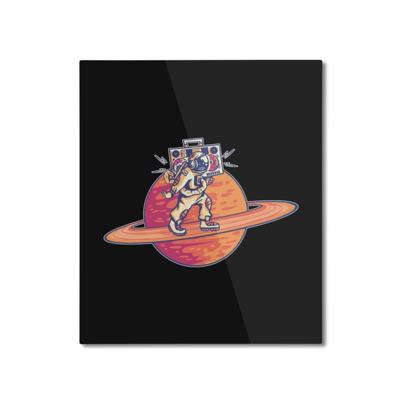 Astronaut Walking Rings Of Saturn Home Mounted Aluminum Print by Far Out Sky - A Popular Ventures Company