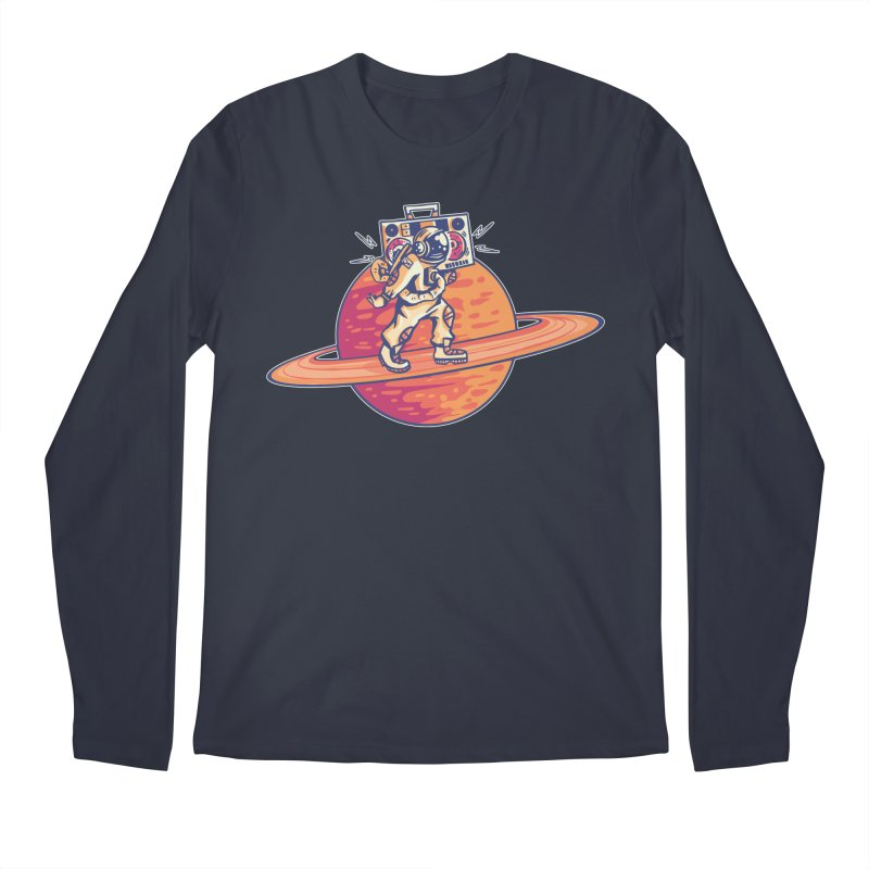 Astronaut Walking Rings Of Saturn Men's Longsleeve T-Shirt by Far Out Sky - A Popular Ventures Company
