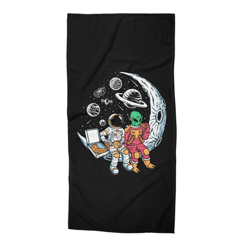 Pizza Party In Space Accessories Beach Towel by Far Out Sky - A Popular Ventures Company