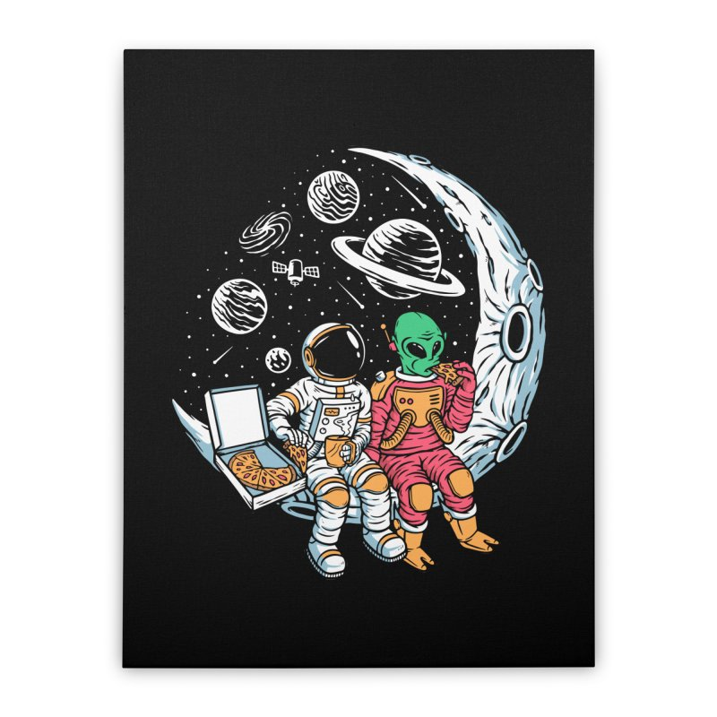 Pizza Party In Space Home Stretched Canvas by Far Out Sky - A Popular Ventures Company
