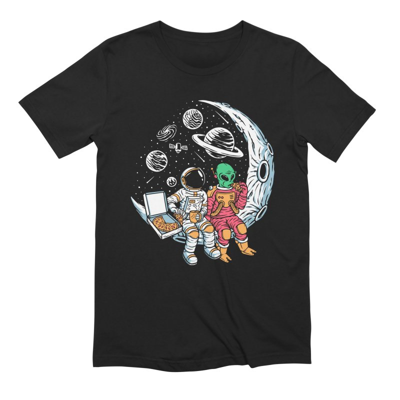 Pizza Party In Space Men's T-Shirt by Far Out Sky - A Popular Ventures Company