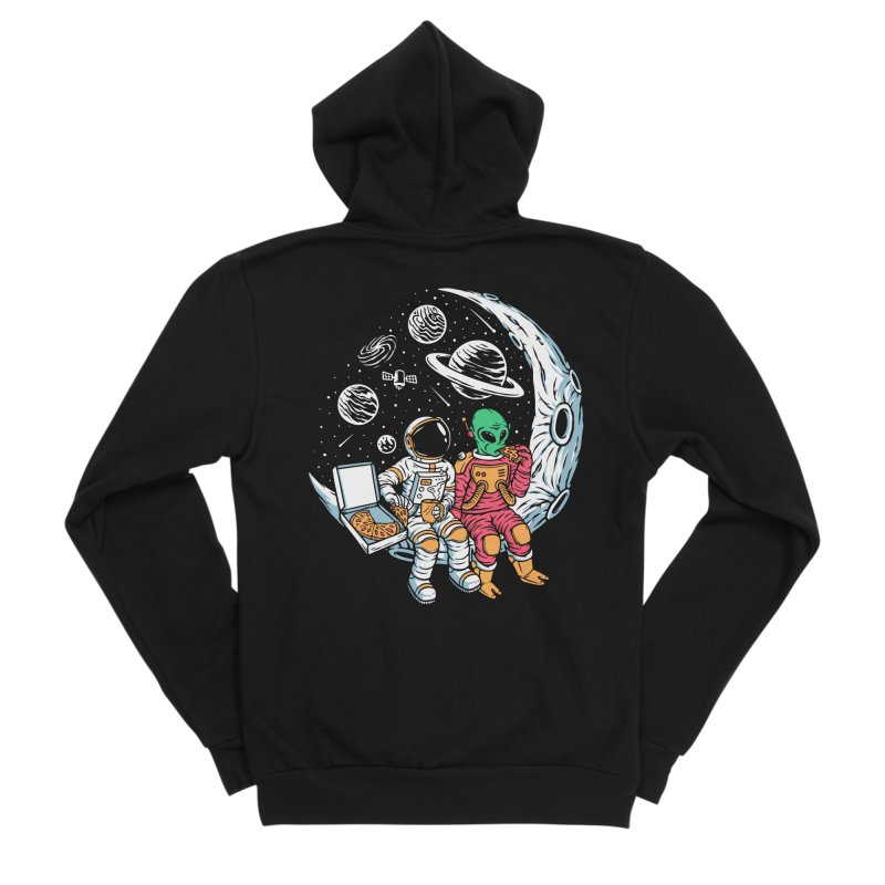 Pizza Party In Space Women's Zip-Up Hoody by Far Out Sky - A Popular Ventures Company
