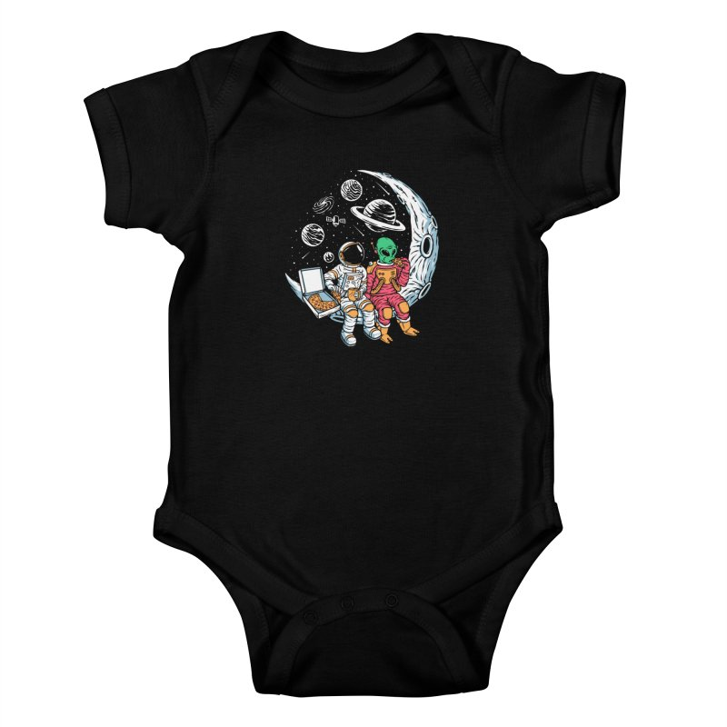 Pizza Party In Space Kids Baby Bodysuit by Far Out Sky - A Popular Ventures Company