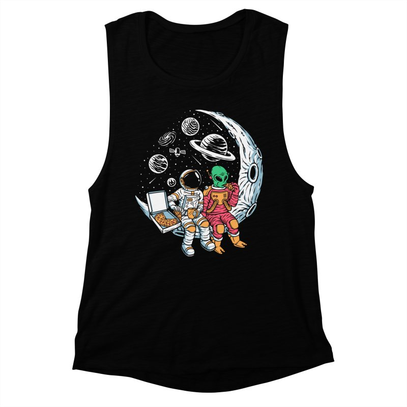 Pizza Party In Space Women's Tank by Far Out Sky - A Popular Ventures Company