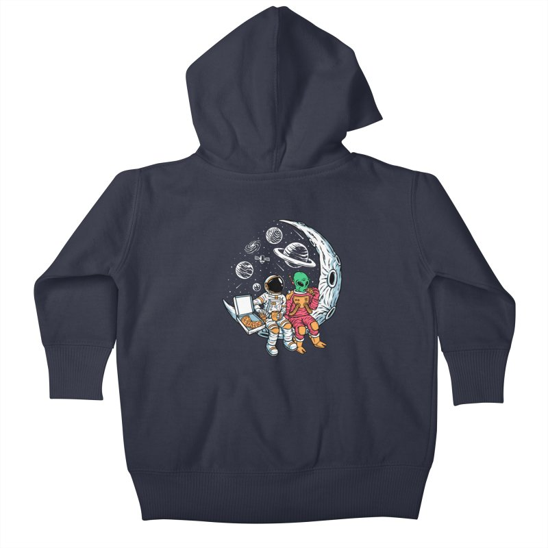 Pizza Party In Space Kids Baby Zip-Up Hoody by Far Out Sky - A Popular Ventures Company