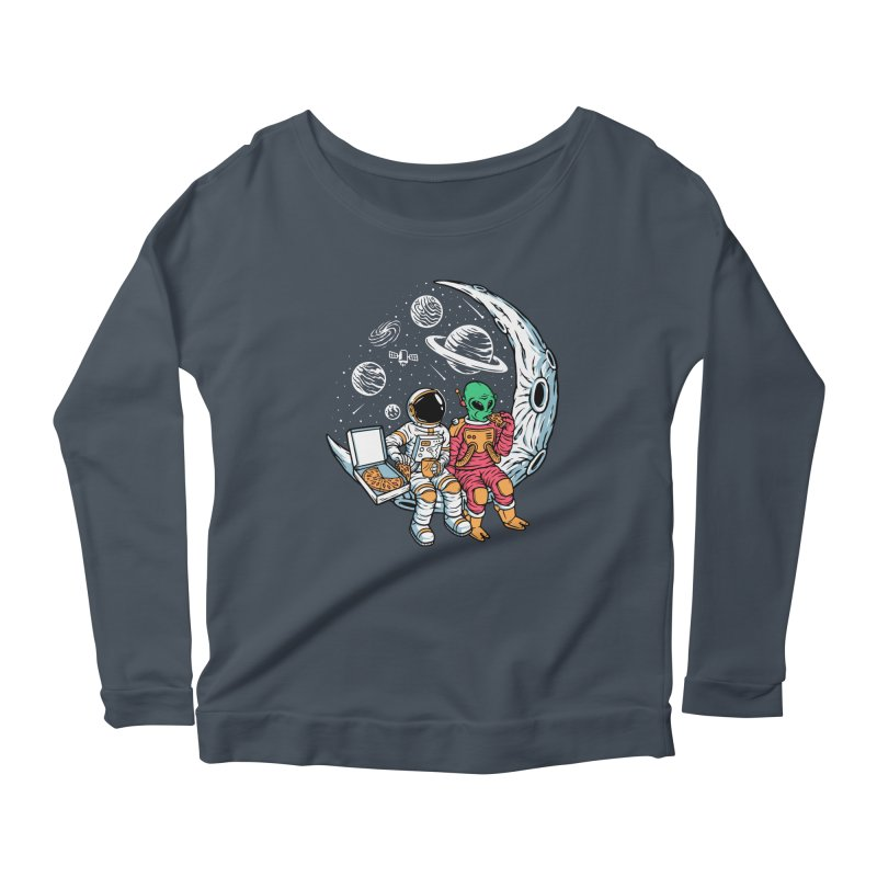 Pizza Party In Space Women's Longsleeve T-Shirt by Far Out Sky - A Popular Ventures Company