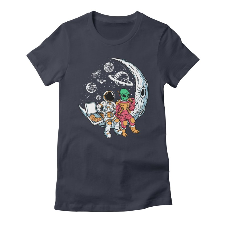 Pizza Party In Space Women's T-Shirt by Far Out Sky - A Popular Ventures Company