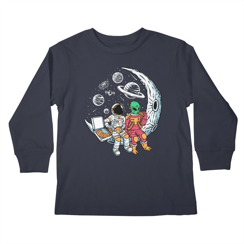 Pizza Party In Space Kids Longsleeve T-Shirt by Far Out Sky - A Popular Ventures Company