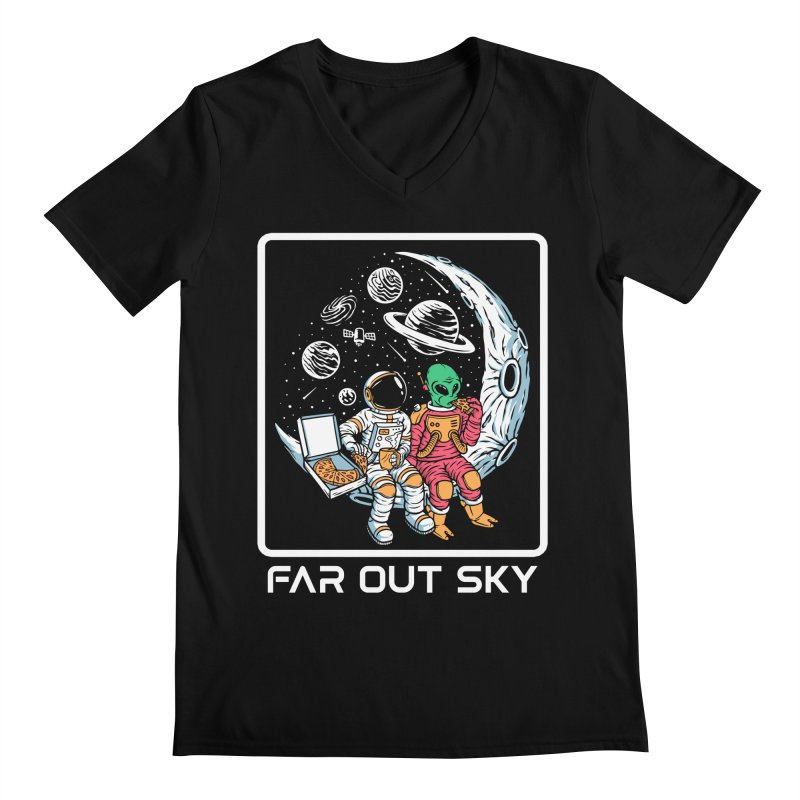 Astronaut And Alien Pizza Party On The Moon Men's V-Neck by Far Out Sky - Space For Your Space