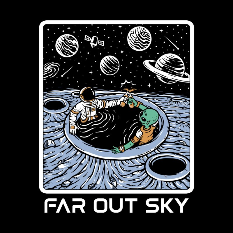 Astronaut And Alien In A Hot Tub On The Moon Women's Tank by Far Out Sky - Space For Your Space