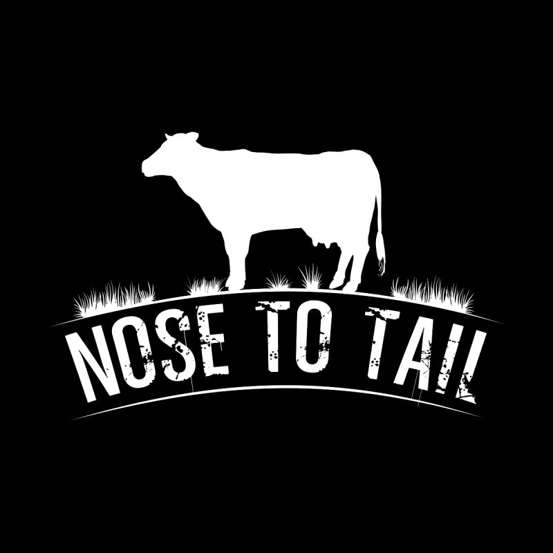 Nose to tail white lettering Kids Baby T-Shirt by Fat Fueled Family's Artist Shop