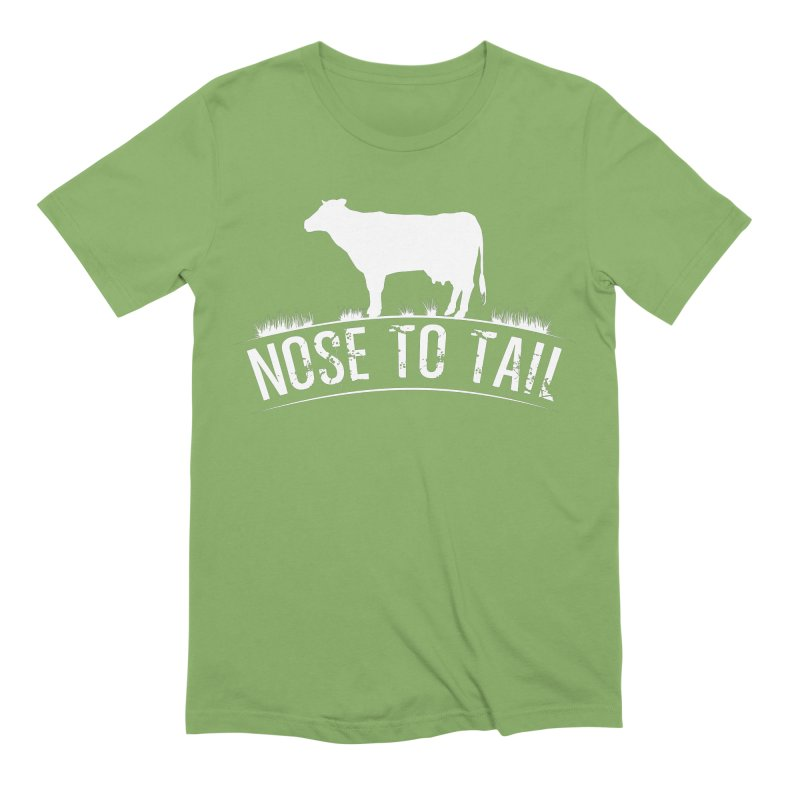 Nose to tail white lettering Men's T-Shirt by Fat Fueled Family's Artist Shop