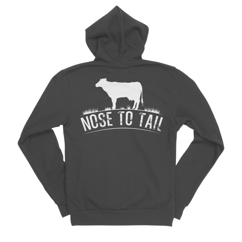 Nose to tail white lettering Men's Sponge Fleece Zip-Up Hoody by Fat Fueled Family's Artist Shop