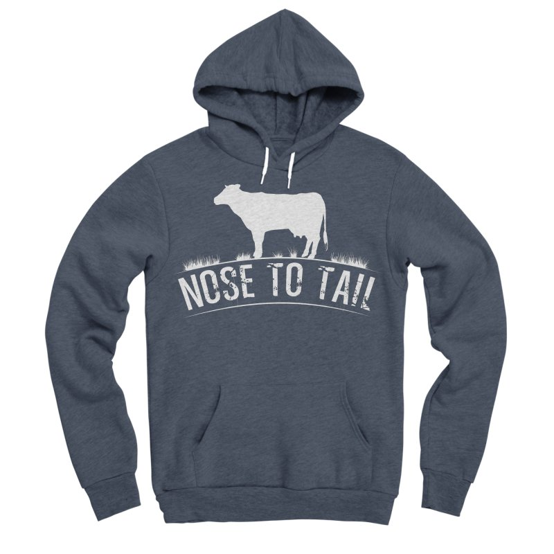 Nose to tail white lettering Women's Sponge Fleece Pullover Hoody by Fat Fueled Family's Artist Shop