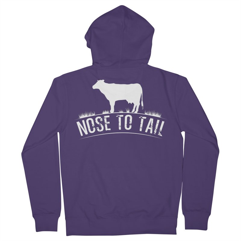 Nose to tail white lettering Women's French Terry Zip-Up Hoody by Fat Fueled Family's Artist Shop