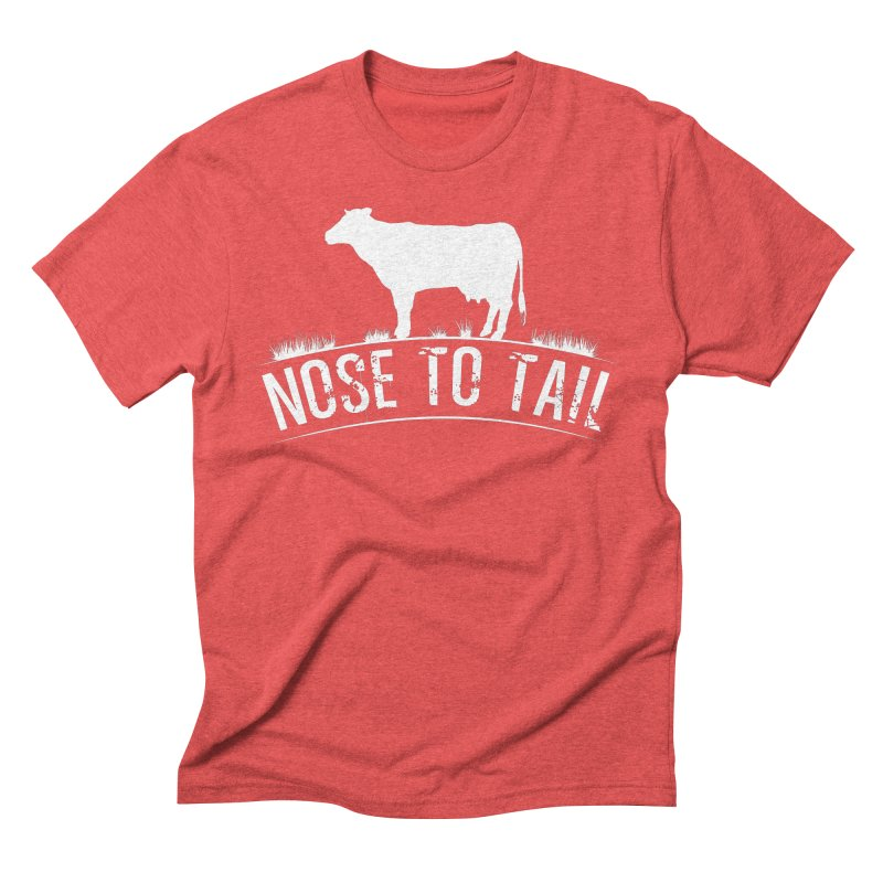 Nose to tail white lettering Men's Triblend T-Shirt by Fat Fueled Family's Artist Shop