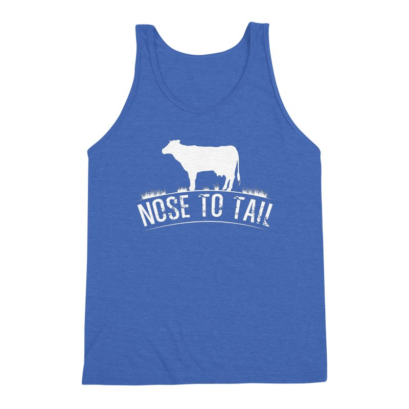 Nose to tail white lettering Men's Triblend Tank by Fat Fueled Family's Artist Shop