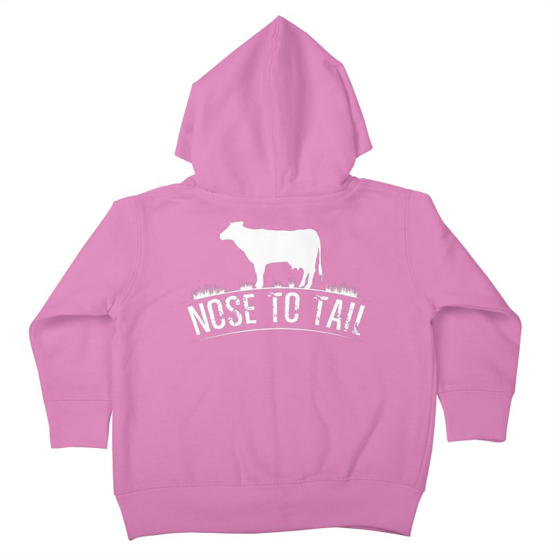 Nose to tail white lettering Kids Toddler Zip-Up Hoody by Fat Fueled Family's Artist Shop