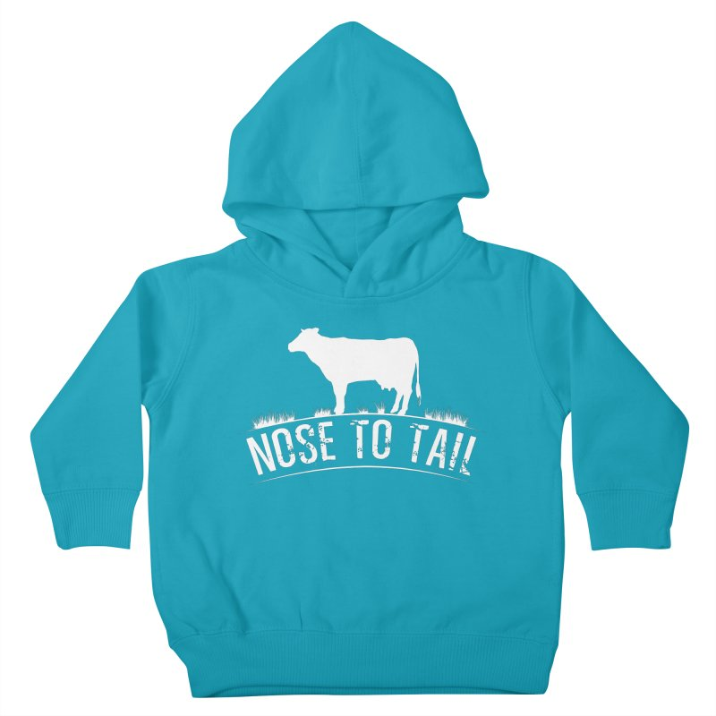 Nose to tail white lettering Kids Toddler Pullover Hoody by Fat Fueled Family's Artist Shop