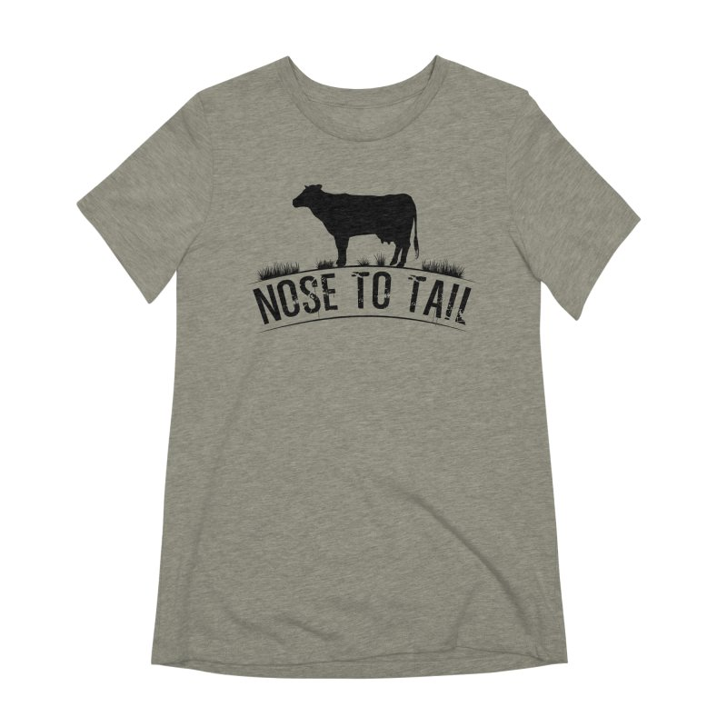 Nose to tail black lettering Women's Extra Soft T-Shirt by Fat Fueled Family's Artist Shop