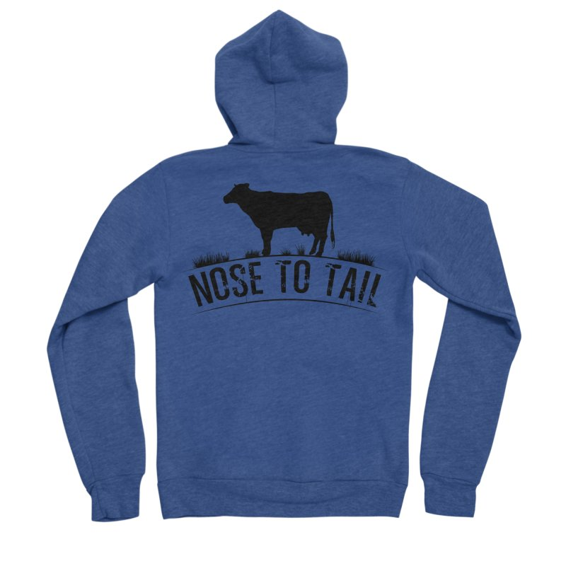 Nose to tail black lettering Men's Sponge Fleece Zip-Up Hoody by Fat Fueled Family's Artist Shop