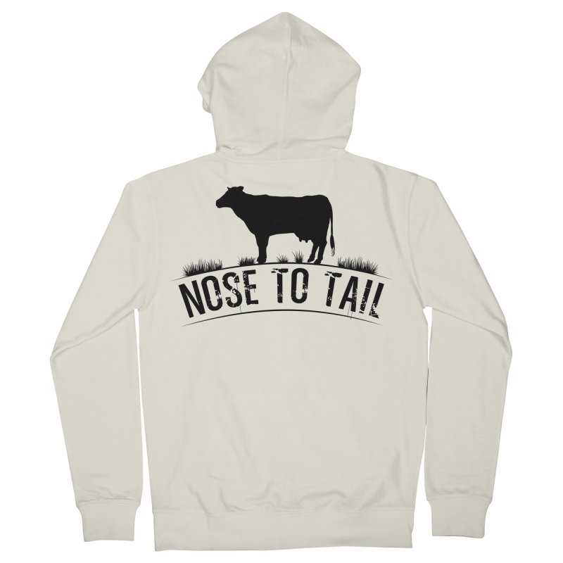 Nose to tail black lettering Men's French Terry Zip-Up Hoody by Fat Fueled Family's Artist Shop