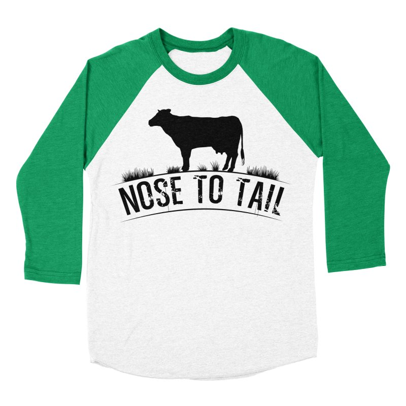 Nose to tail black lettering Women's Baseball Triblend Longsleeve T-Shirt by Fat Fueled Family's Artist Shop