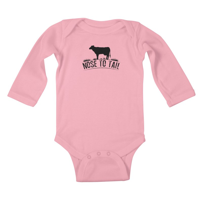 Nose to tail black lettering Kids Baby Longsleeve Bodysuit by Fat Fueled Family's Artist Shop
