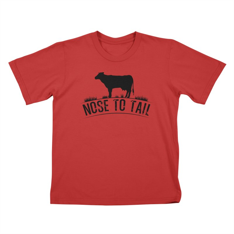 Nose to tail black lettering Kids T-Shirt by Fat Fueled Family's Artist Shop