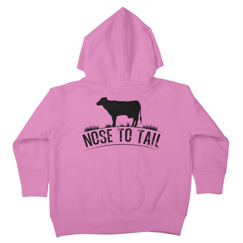 Nose to tail black lettering Kids Toddler Zip-Up Hoody by Fat Fueled Family's Artist Shop
