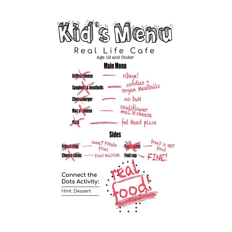 Kid's menu black text Women's T-Shirt by Fat Fueled Family's Artist Shop