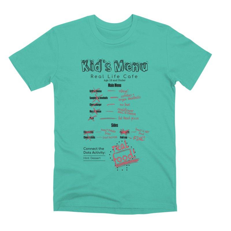 Kid's menu black text Men's Premium T-Shirt by Fat Fueled Family's Artist Shop