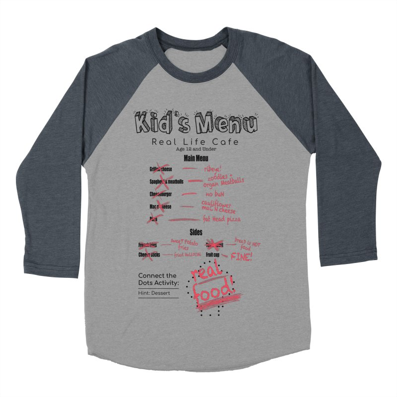 Kid's menu black text Women's Baseball Triblend Longsleeve T-Shirt by Fat Fueled Family's Artist Shop