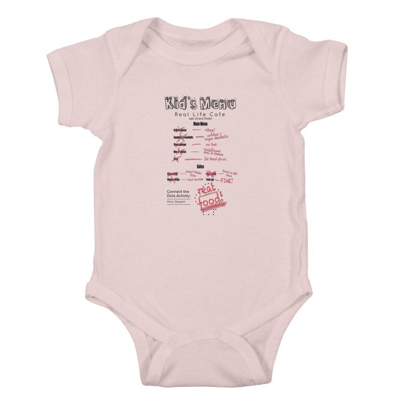 Kid's menu black text Kids Baby Bodysuit by Fat Fueled Family's Artist Shop
