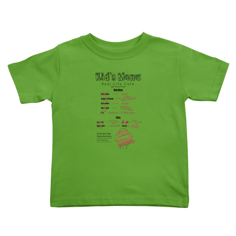 Kid's menu black text Kids Toddler T-Shirt by Fat Fueled Family's Artist Shop
