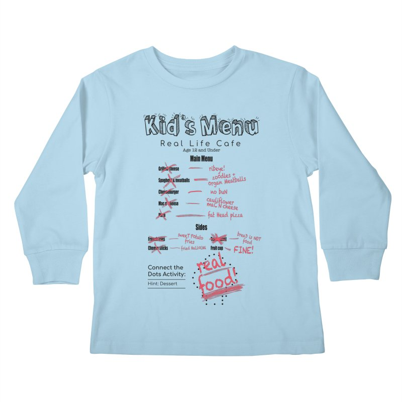 Kid's menu black text Kids Longsleeve T-Shirt by Fat Fueled Family's Artist Shop