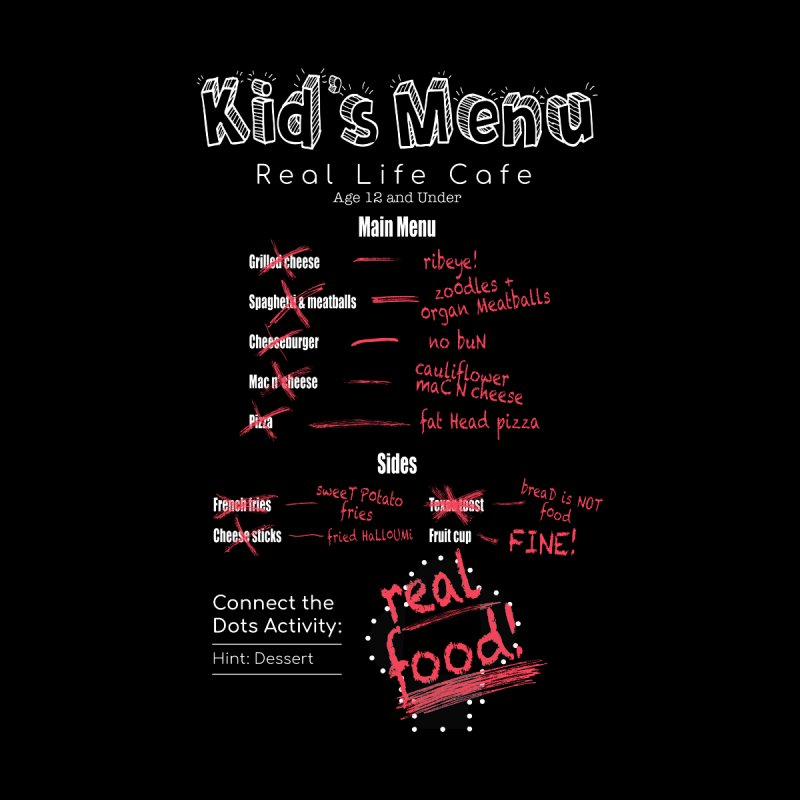 Kid's menu white text Men's Longsleeve T-Shirt by Fat Fueled Family's Artist Shop