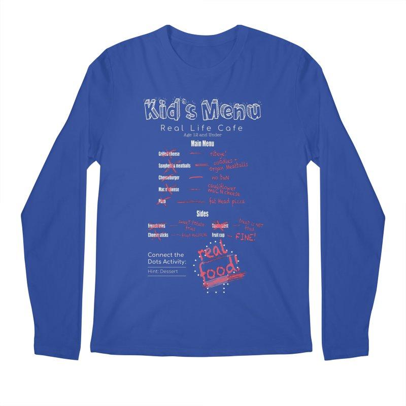 Kid's menu white text Men's Regular Longsleeve T-Shirt by Fat Fueled Family's Artist Shop