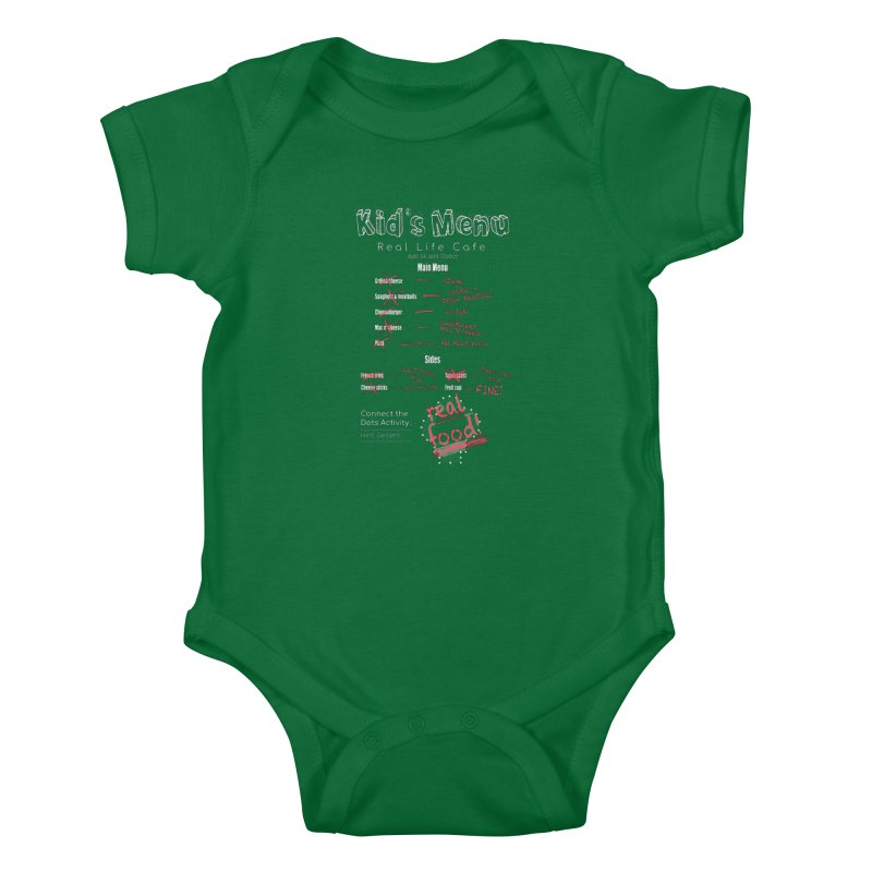 Kid's menu white text Kids Baby Bodysuit by Fat Fueled Family's Artist Shop
