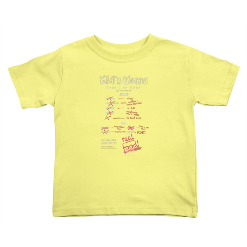 Kid's menu white text Kids Toddler T-Shirt by Fat Fueled Family's Artist Shop